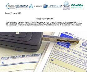 Comunicato congiunto: Urgente richiesta proroga entrata in vigore Documento Unico di circolazione e proprietà dei veicoli