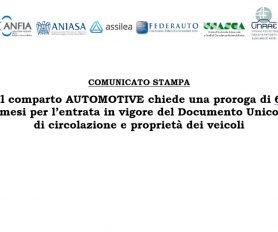 Comunicato congiunto del comparto automotive nazionale su proroga per la completa entrata in vigore del DU